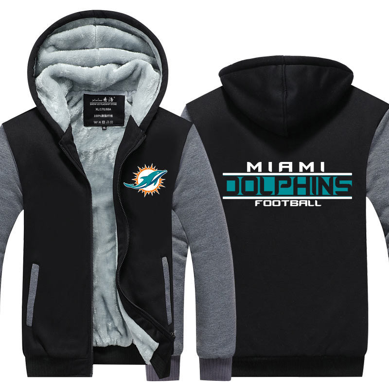 NFL Miami Dolphins Pull over Hoodie Sweatshirt Autumn Winter Unisex Sweater Zipper Jacket Coat