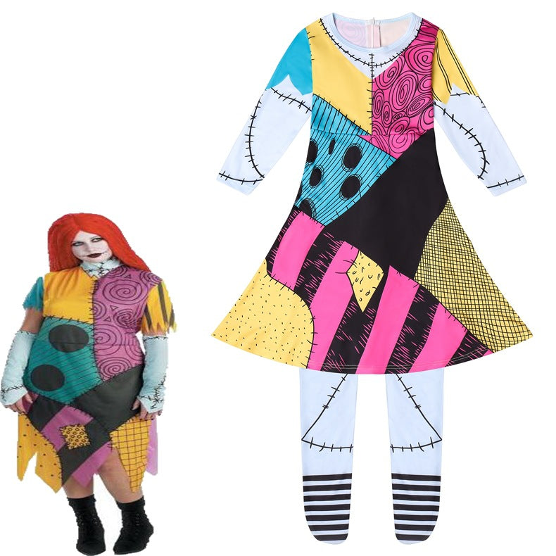The Nightmare  before Christmas Sally Jumpsuits Uniform Halloween Cosplay Costume Horry Bodysuit For Kids