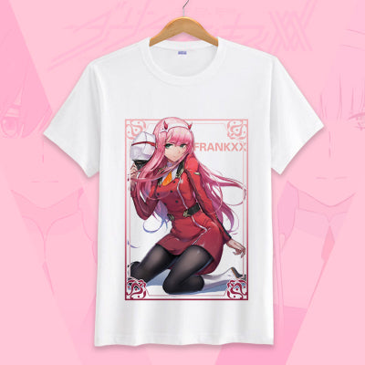 Zero Two Shirt Roblox Darling In The Franxx Zero Two T Shirt Short Sleeve Cosplay Tees Amcoser