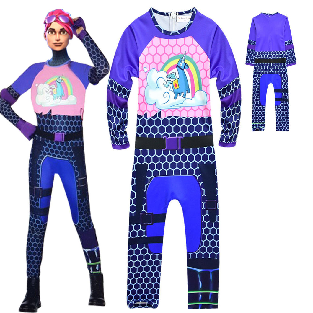 Fortnite Brite Bommber Jumpsuit Halloween Cosplay Costume For Kids