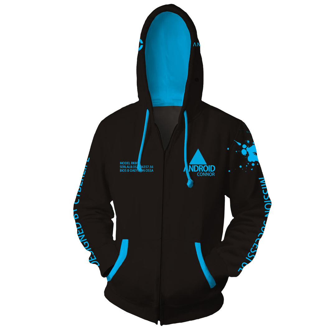 Detroit:Become Human Connor Hoodie Cosplay Coat Fashion Sweater