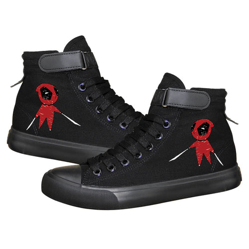 Marvel Deadpool Superhero  High Top Canvas Sneakers Cosplay Shoes For Kids
