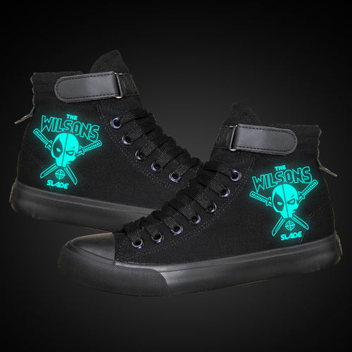 Marvel Deadpool Superhero  High Top Canvas Sneakers Cosplay Shoes For Kids Luminous
