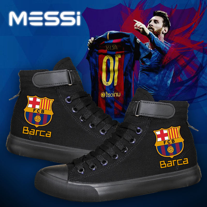 Barcelona Football Lionel Messi  High Top Canvas Sneakers Cosplay Shoes For Kids