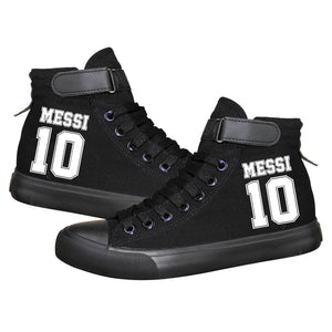 Barcelona Football Lionel Messi High Top Canvas Sneakers Cosplay Shoes For Kids Luminous