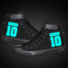 Load image into Gallery viewer, Barcelona Football Lionel Messi High Top Canvas Sneakers Cosplay Shoes For Kids Luminous