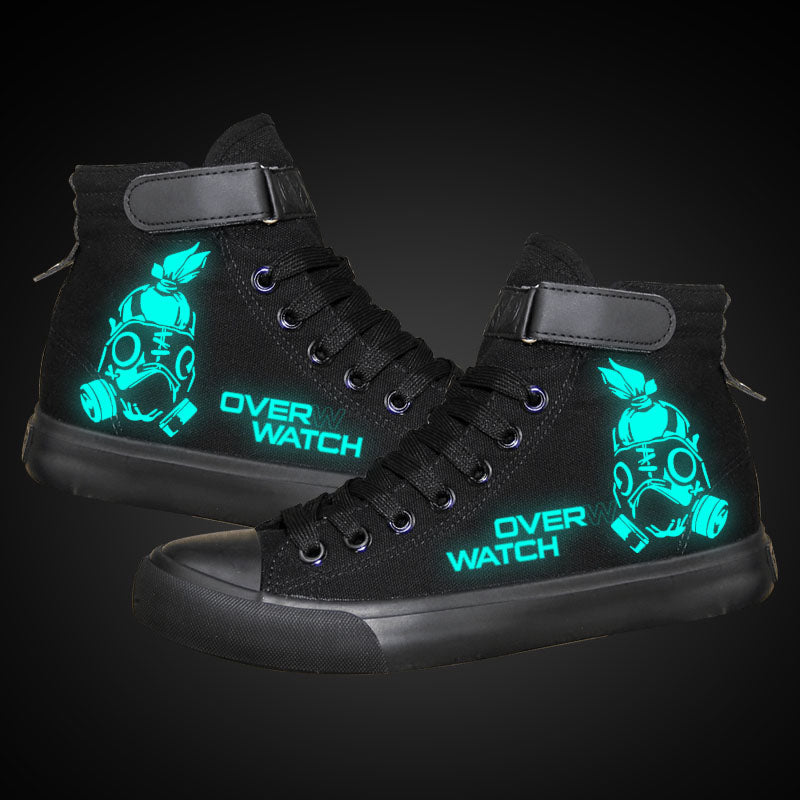 Game Overwatch Roadhog High Tops Casual Canvas Shoes Unisex Sneakers Luminous
