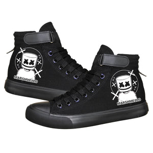 Game Fortnite Marshmello Skin High Top Sneaker Cosplay Shoes
