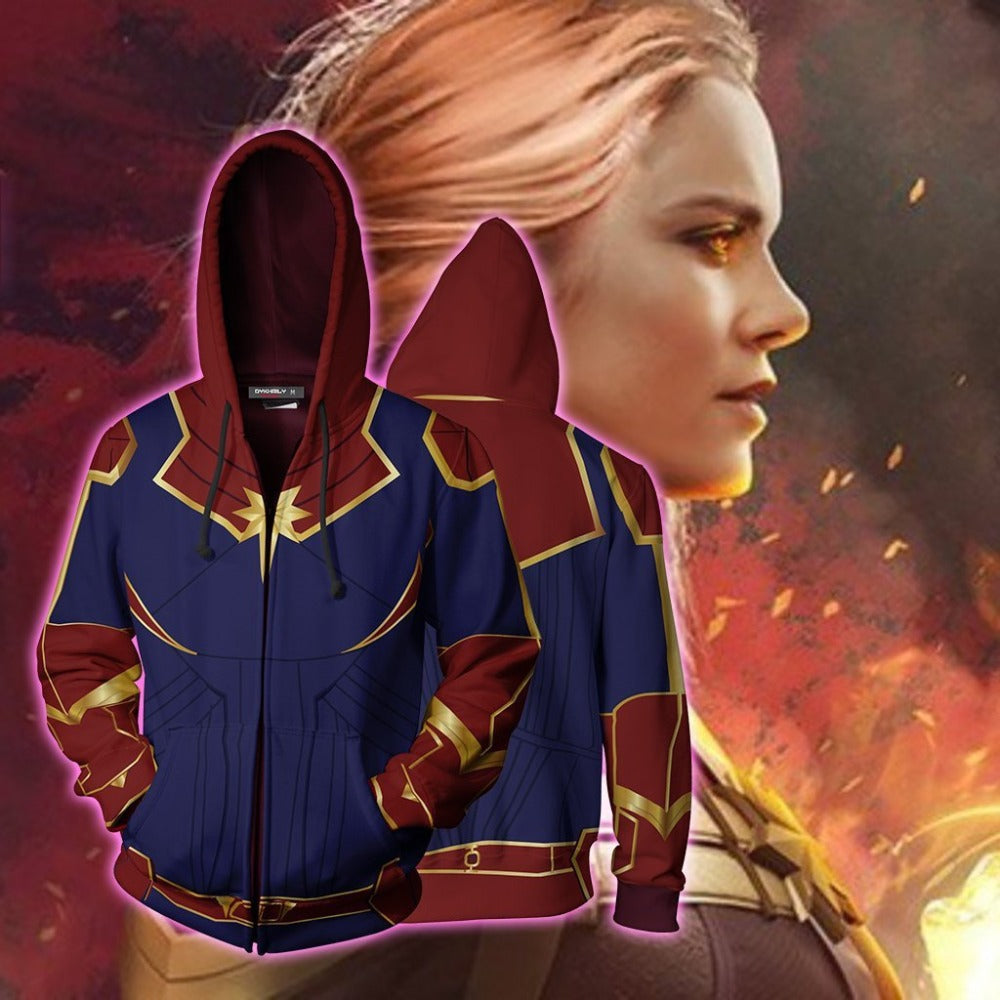 Cosplay Captain Marvel Hoodie Sweatshirts Costume Hooded Sweater Zipper Jackets