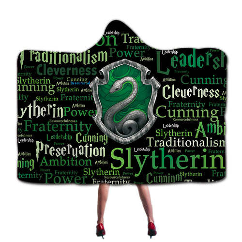 Harry Potter Slytherin Super Soft Cozy Throw Blanket In Cap Warm Blanket for Couch Throw Travel Hooded Blanket