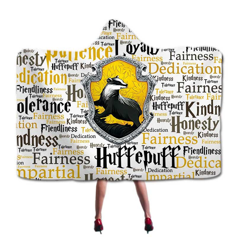 Harry Potter Hufflepuff Super Soft Cozy Throw Blanket In Cap Warm Blanket for Couch Throw Travel Hooded Blanket