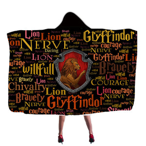 Harry Potter Gryffindor Super Soft Cozy Throw Blanket In Cap Warm Blanket for Couch Throw Travel Hooded Blanket