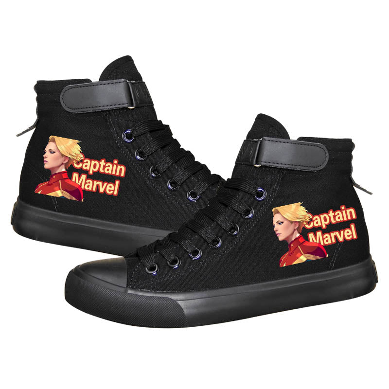 Movie Captain Marvel Carol Danvers High Tops Casual Canvas Shoes Unisex Sneakers