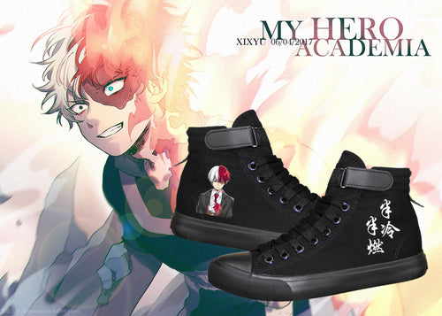 Anime My Hero Academia Shoto Todoroki Shouto High Tops Casual Canvas Shoes Unisex Sneakers Luminous