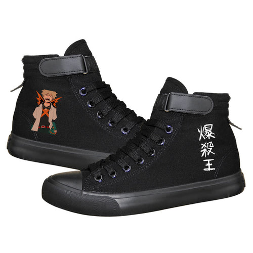 Anime My Hero Academia bakugou katsuki High Tops Casual Canvas Shoes Unisex Sneakers For Kids Luminous