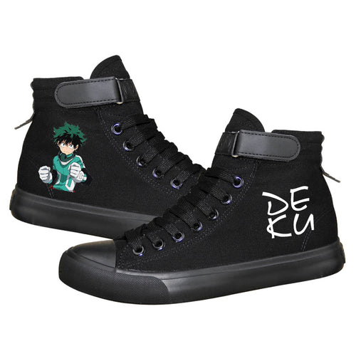 Anime My Hero Academia Izuku Midoriya High Tops Casual Canvas Shoes Unisex Sneakers For Kids Luminous