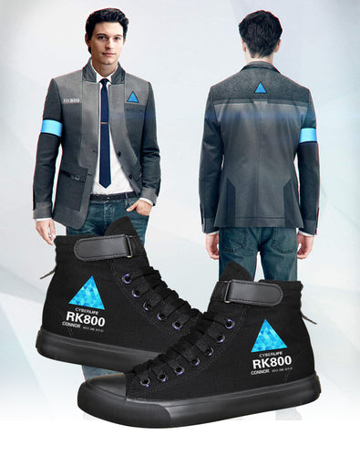 Detroit Become Human Cosplay Shoes High Tops Casual Canvas Shoes Unisex Sneakers