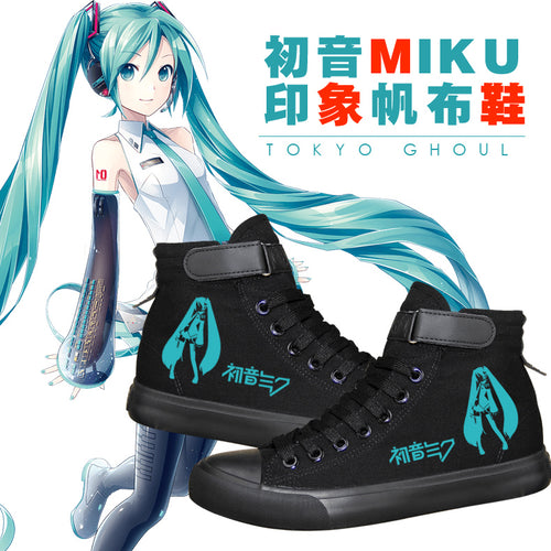 Anime Hatsune Miku High Tops Casual Canvas Shoes Unisex Black Sneakers For Kids