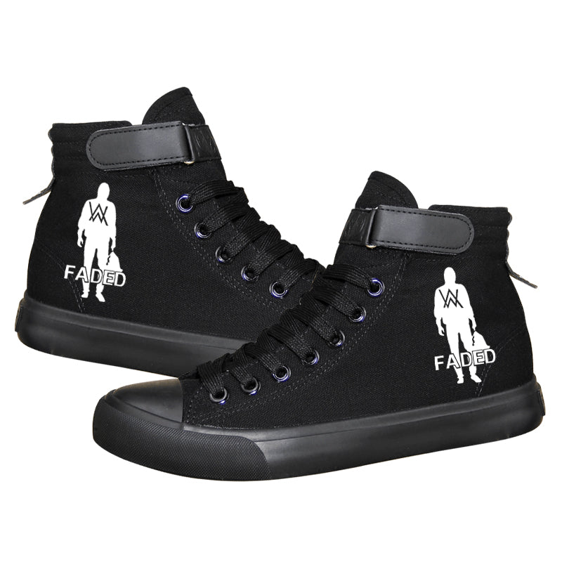 Hip Hop Alan Walker DJ High Tops Casual Canvas Shoes Unisex Sneakers Luminous