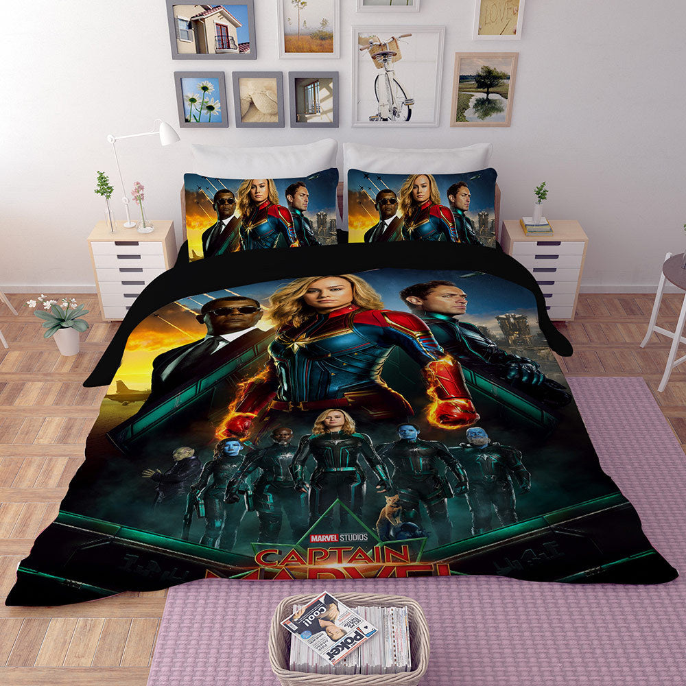 Captain Marvel Carol Danvers Bedding Set Duvet Cover Set Bedroom Set Bedlinen 3D Bag