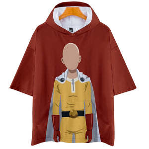 Anime One Punch Man Season 2 Hooded Short Sleeve T-shirts Cosplay Costume