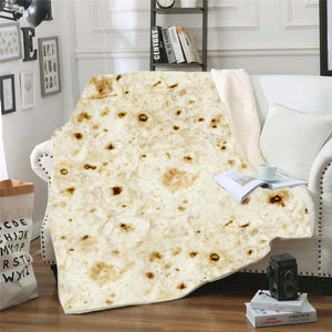 Burrito Blanket Throw Tortilla Texture Soft Fleece Super Bed Sofa Bedding Quilt
