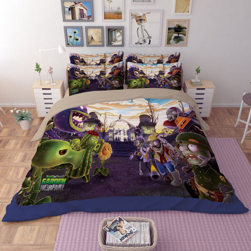 3D Plants vs Zombies Bedding Set 3PC Of Duvet Cover & Pillowcase
