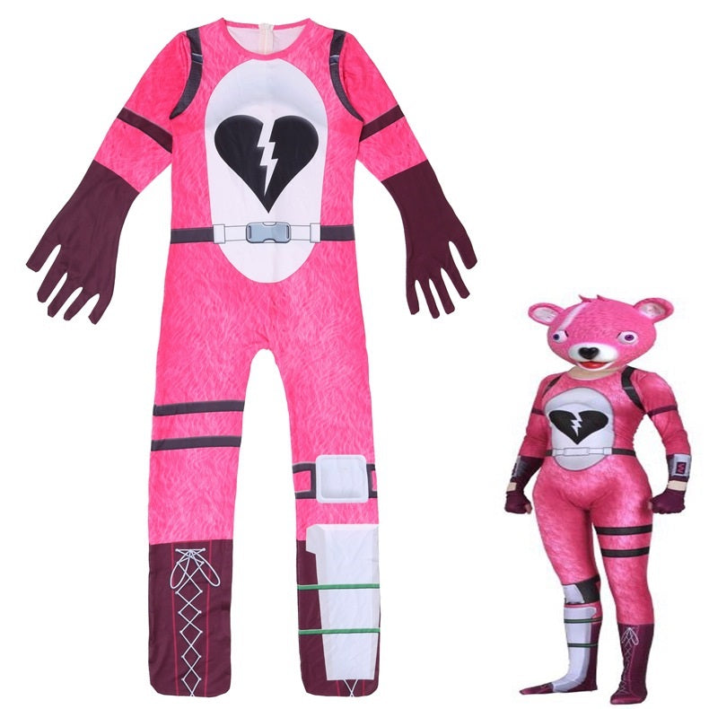 Fortnite Cuddle Team Leader Bear Cosplay Costume Halloween Zentai Jumpsuit For Kids