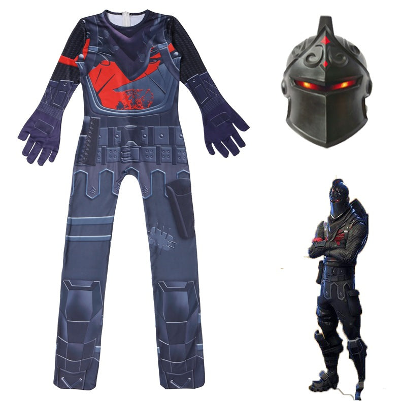 Fortnite Black Knight Cosplay Costume Halloween Zentai Jumpsuit For Kids