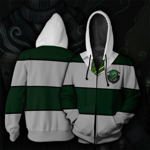 Harry Potter Slytherin Cosplay Hoodie Sweatshirt Sweater Zipper Jacket Coat