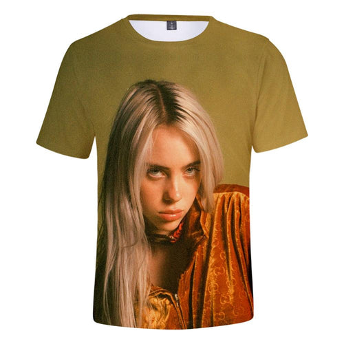 Billie Eilish Shirt Bellyache Classic Style Short Sleeve Tee Hip Hop Top for Youth