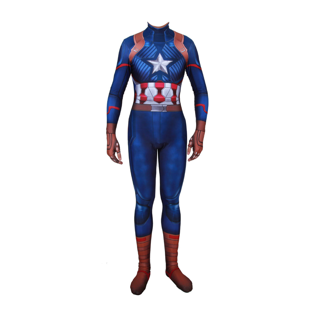 Avengers Endgame Captain America Cosplay Costume Superhero Jumpsuits