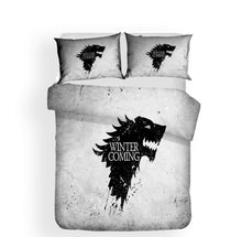 Load image into Gallery viewer, Game of Thrones Ice Wolf The North Kingdom Winter Coming Bedding Set Duvet Cover Set Bedroom Set Bedlinen 3D Printing