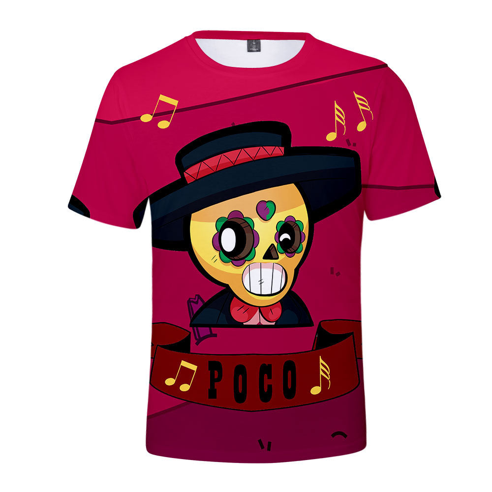 Game Brawl Stars Poco 3D Printed T Shirts Spring Tops Summer Tees For Adults Kids