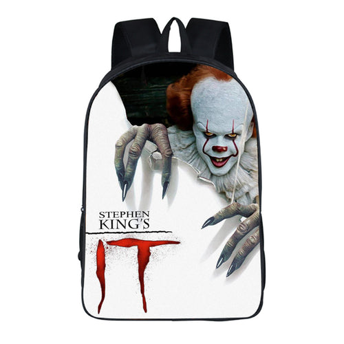 Horror Movie Pennywise IT Stephen King Clown Backpack School Sports Bag