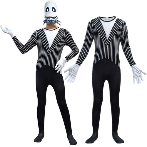 The Nightmare Before Christmas Jack Skellington Cosplay Costume Halloween Zentai Jumpsuit For Kids