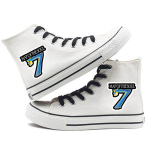 BTS Map of the soul 7 #5 Fashion Shoes High Top Canvas Sneakers For Kids Adults