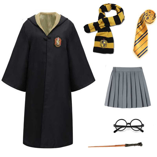 Harry Potter #10 Cosplay  Robe Cloak Clothes Hufflepuff Quidditch Costume Magic School Party Uniform