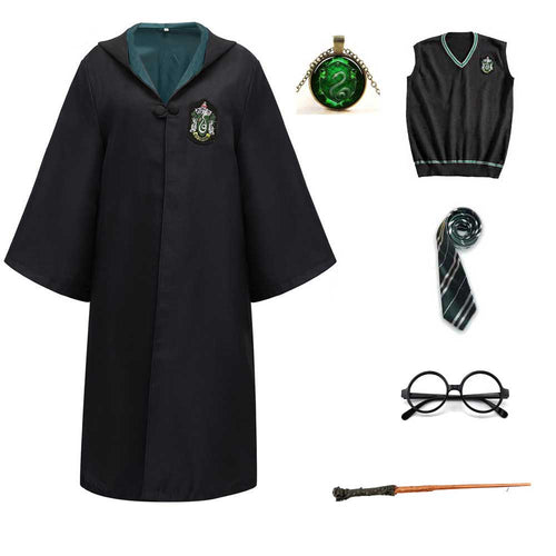 Harry Potter #3 Cosplay  Robe Cloak Clothes Slytherin Green Quidditch Costume Magic School Party Uniform