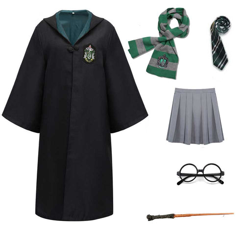 Harry Potter #11 Cosplay  Robe Cloak Clothes Slytherin Green Quidditch Costume Magic School Party Uniform