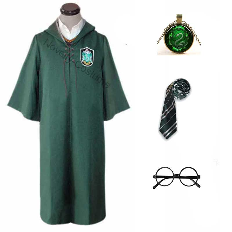 Harry Potter #13 Cosplay  Robe Cloak Clothes Slytherin Green Quidditch Costume Magic School Party Uniform