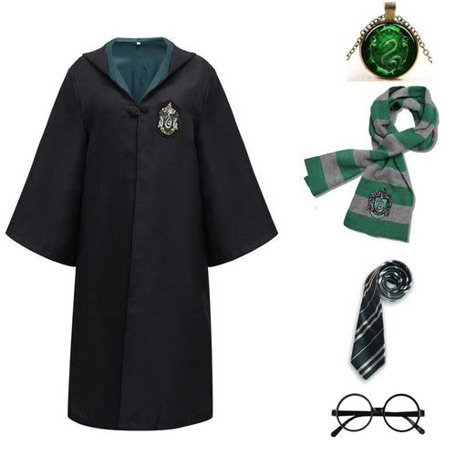 Harry Potter #5 Cosplay  Robe Cloak Clothes Slytherin Green Quidditch Costume Magic School Party Uniform