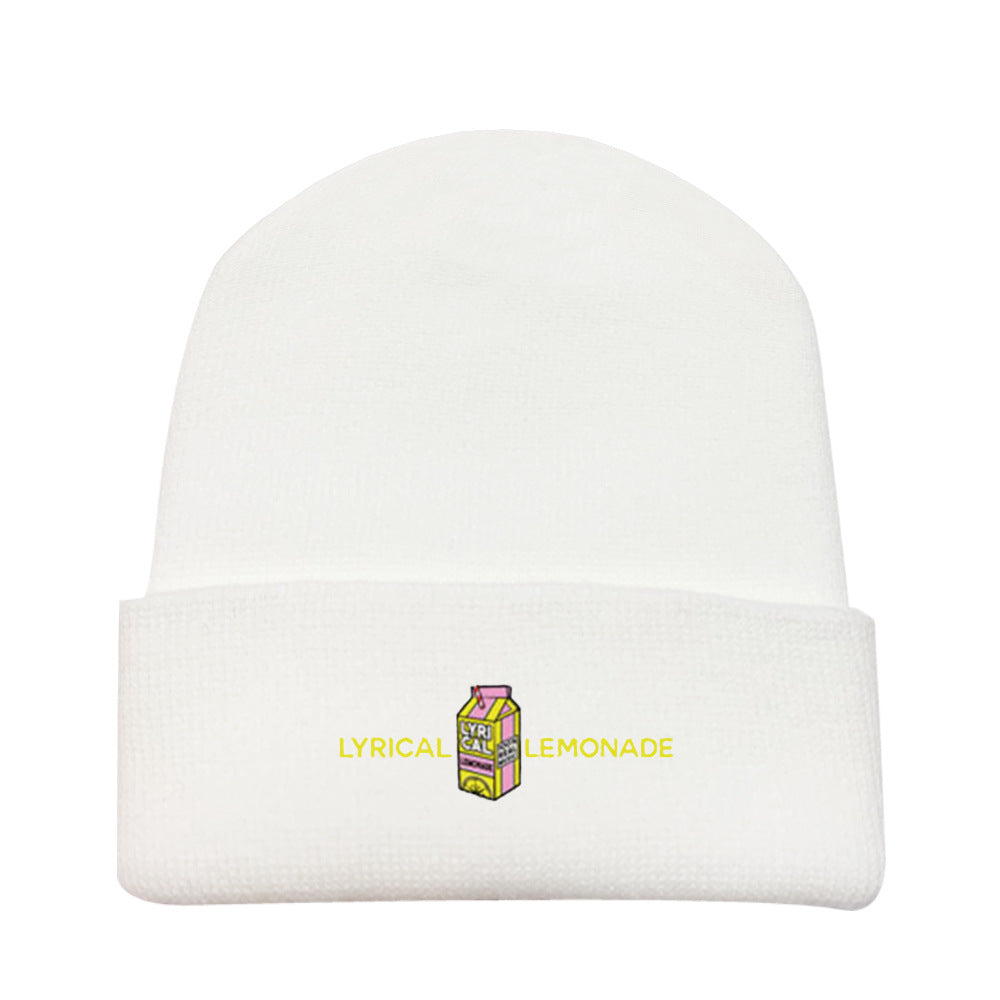 Lyrical Lemonade #3 Embroidered Woolen Hat Winter Knitted Hat Warm Hip-hop Cap