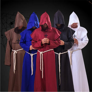 Halloween Monk Wicca Cloak Robe Unisex Larp Witch Costume Carnival Party Ghost Vampire Cosplay Costume
