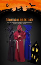 Load image into Gallery viewer, Halloween Monk Wicca Cloak Robe Unisex Larp Witch Costume Carnival Party Ghost Vampire Cosplay Costume