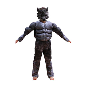 Halloween Kids Wolf Costumes  Suits Children School Performance Clothing Props Muscle Werewolf Cosplay Clothes Kids Gifts