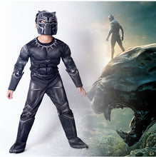Load image into Gallery viewer, Kids Halloween Black Panther Cosplay Children Boy's Black Panther Muscle Costume Jumpsuit Bodysuit Superhero Cosplay Costume