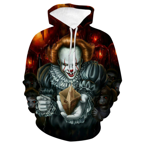 Halloween Horror Cosplay Hoodie Child's Play  Stephen King's it Pull-over Sweartshirts Suits Casual Coat Outwear