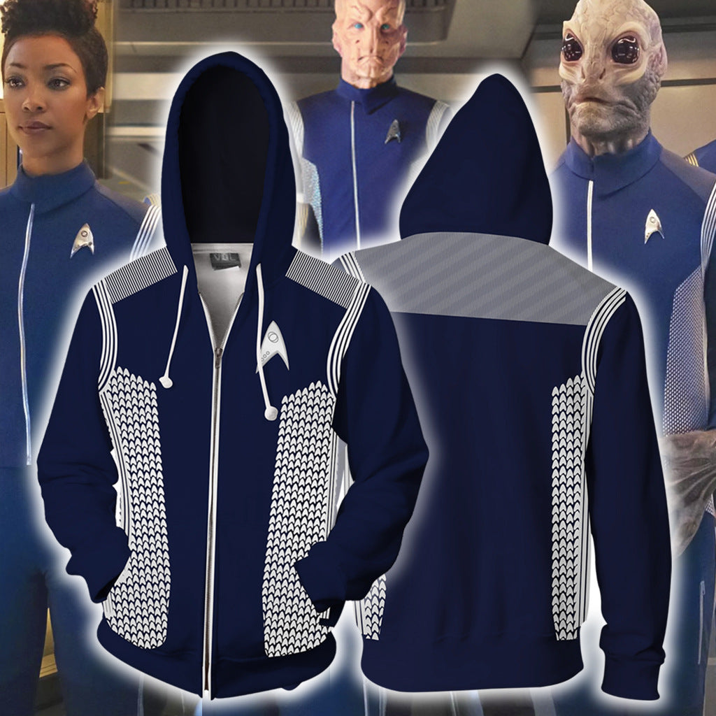 Star Trek Discovery  Hoodie Sweatshirts Cosplay Costume Pull-over Fleece Sweater Zipper Jackets