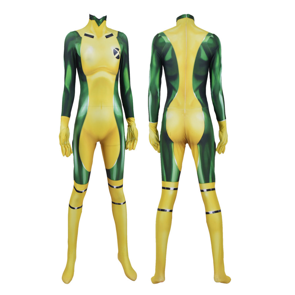 X-MEN Rogue Jumpsuit  Halloween Cosplay Costume Bodysuit